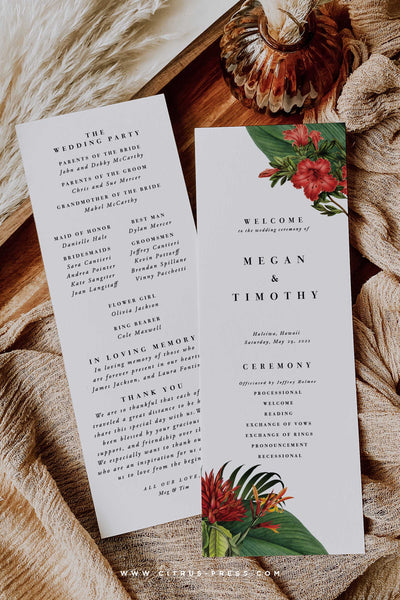 Modern Tropical Wedding Ceremony Program