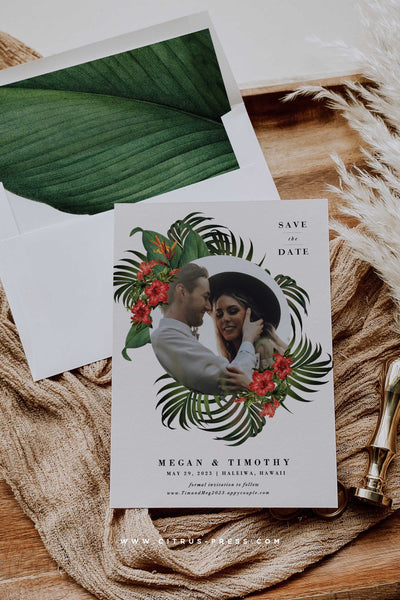 Modern Tropical Save the Date Photo Card