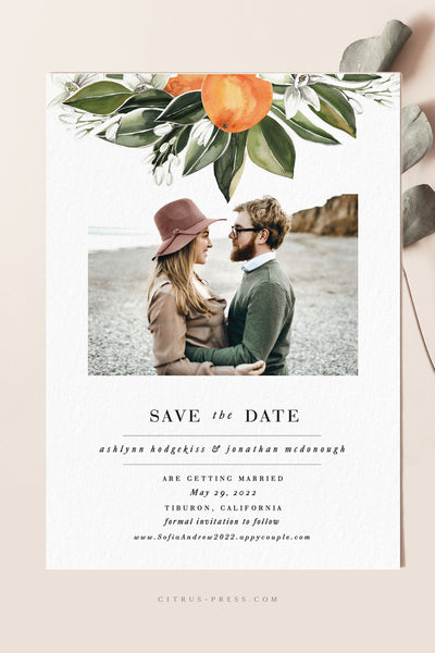 Modern Citrus Oranges Wedding Invitation perfect for a Florida destination wedding Photo Card