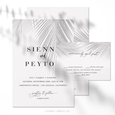 Moody Tropical Invitation Suite RSVP Card