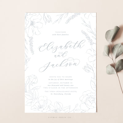 Simplistic Floral Frame Wedding Invitation Suite