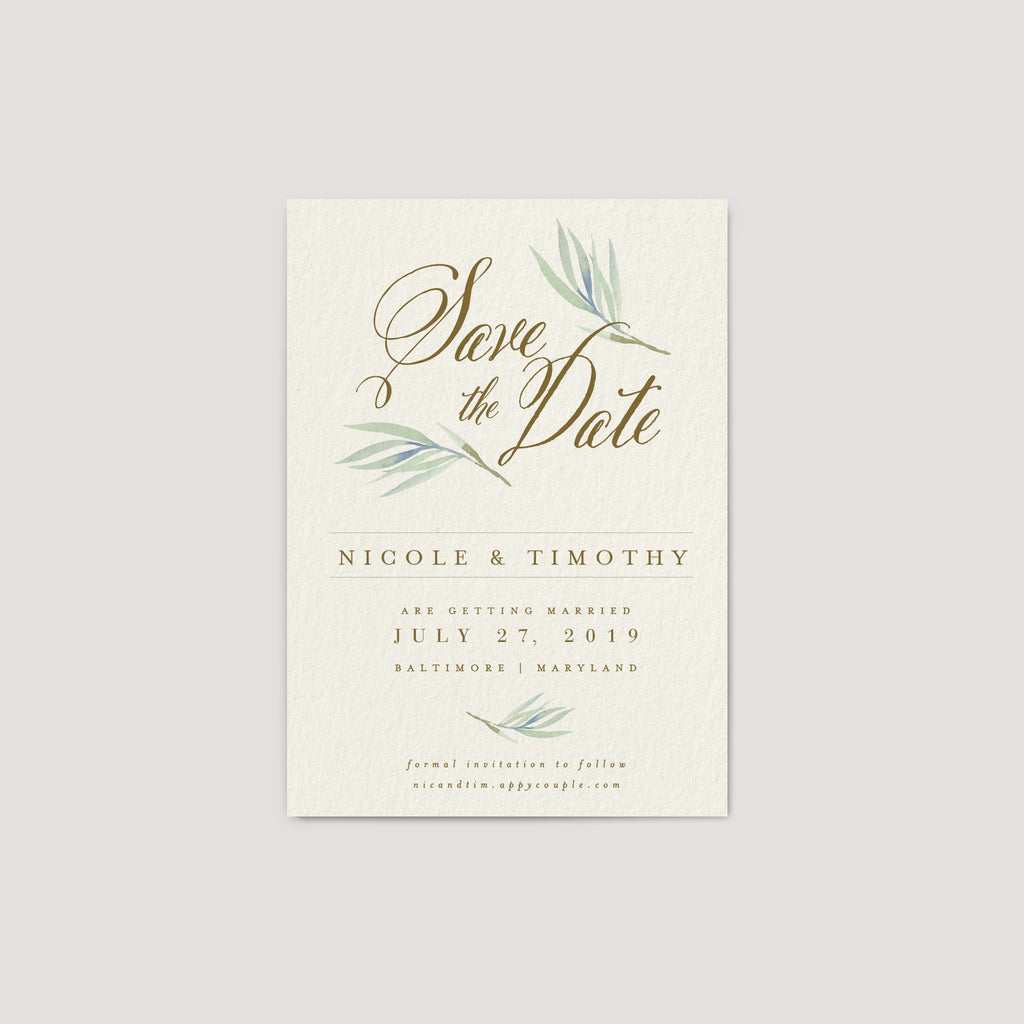 Eucalyptus save the date invitation card