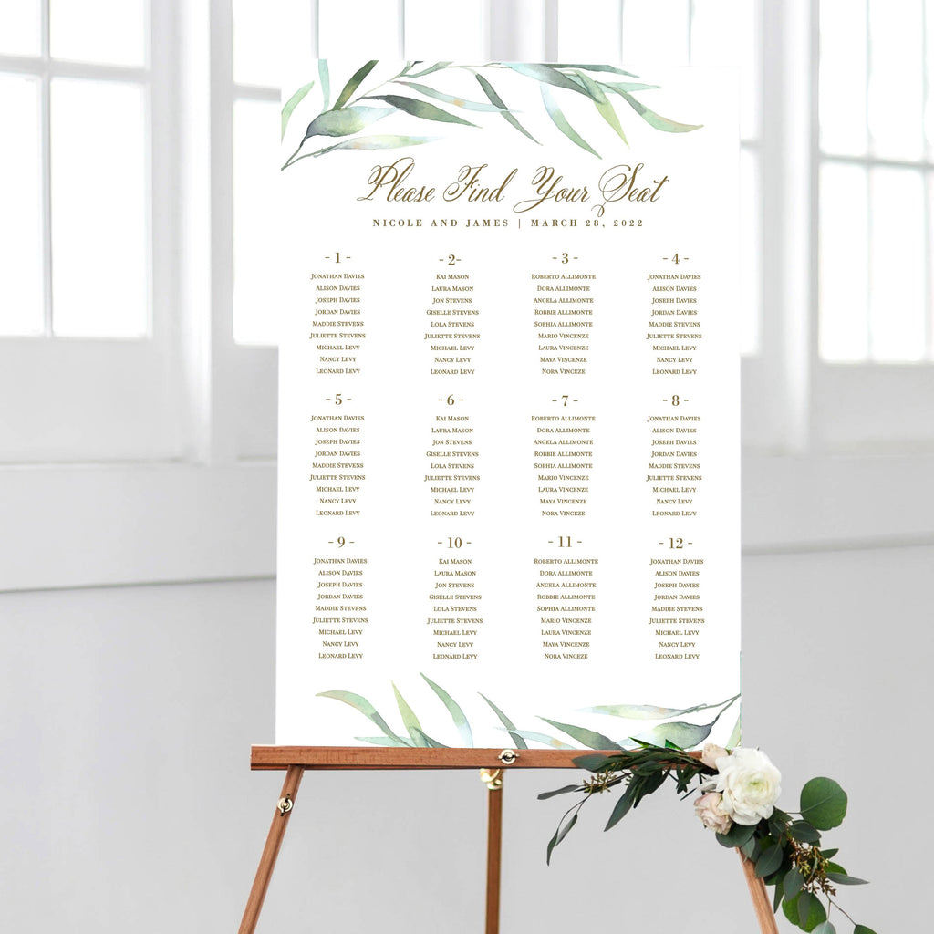 Greenery Eucalyptus Seating Chart Wedding DIY Printable Corjl Template