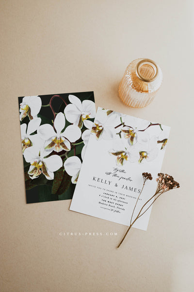 Modern Orchid Tropical Wedding Invitation Destination Beach Card