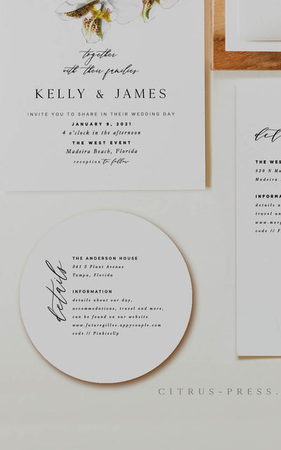 Round Circle Enclosure Card Wedding Invitation