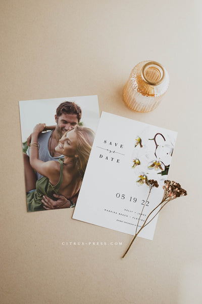 Modern Orchid Save the Date Wedding Announcement Card