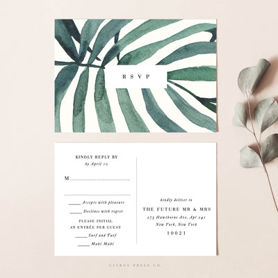 Orchid Palm Leaf Wedding Invitation Suite RSVP card