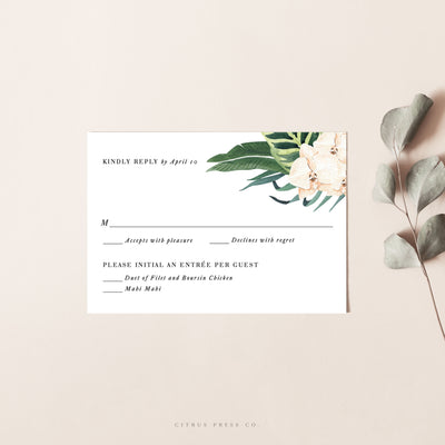 Orchid Wedding Invitation RSVP Card