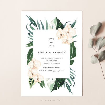 Orchid Save the Date Tropical Wedding Announcement Card