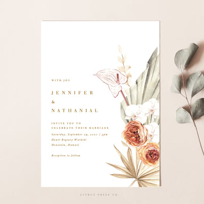 Pampas Grass Tropical Modern Minimal Destination Wedding Invitation