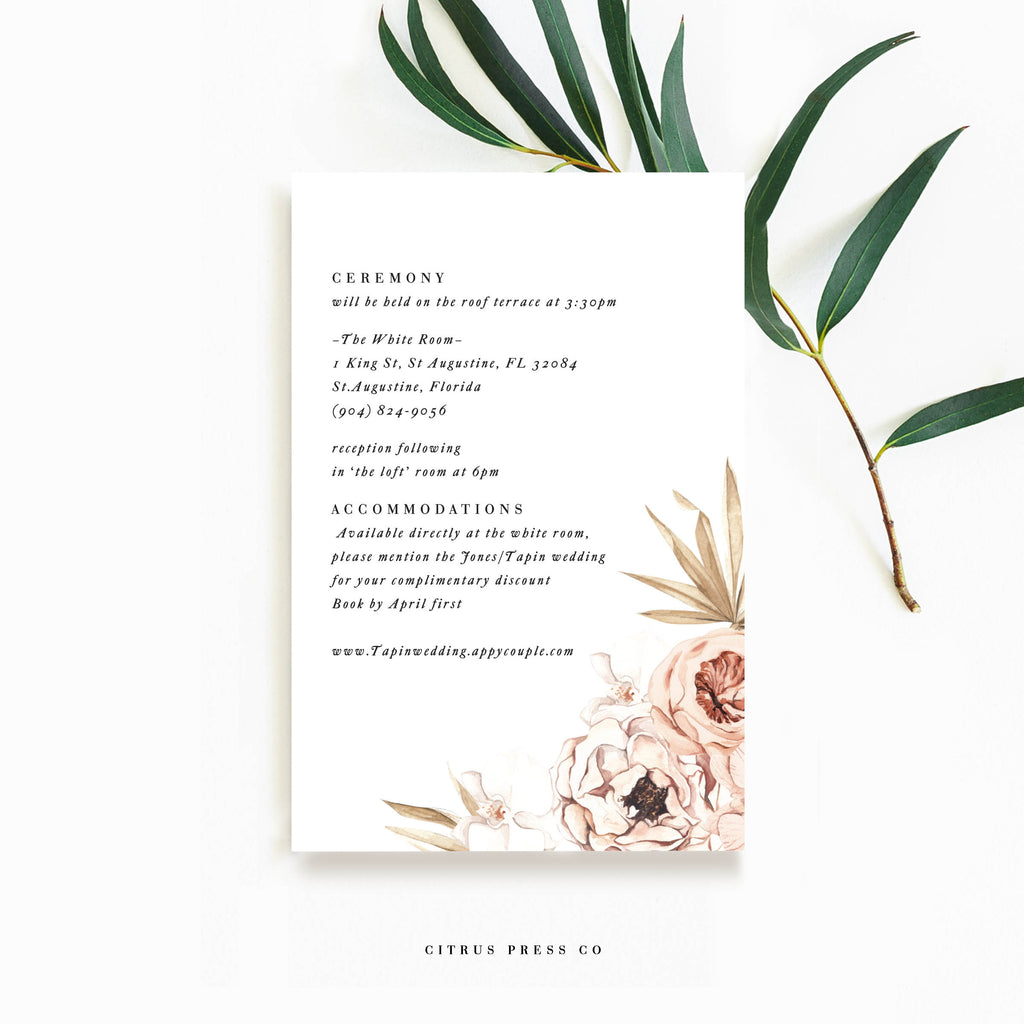 Pampas Grass Orchid Wedding Invitation