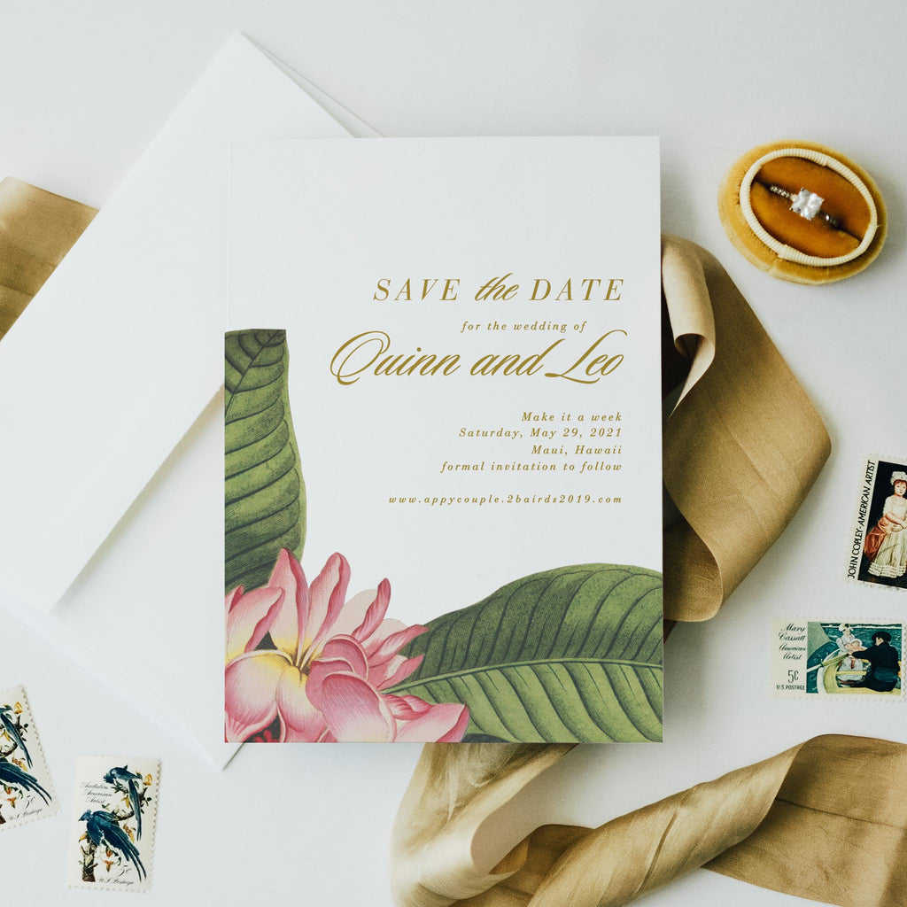Plumeria Save the date destination wedding Hawaii