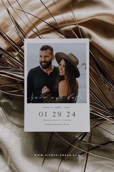Polaroid Save The Date Minimal Invitation Modern Clean Design Photo