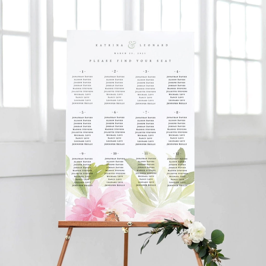 Romantic Floral Seating Chart Wedding PDF DIY Self Editable Template