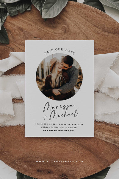 Printable Minimal Round Circle Save the Date Photo Card Corjl Template DIY Bride