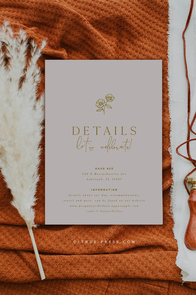 Rust Terracotta Wedding Invitation Enclosure Card with modern line art flower