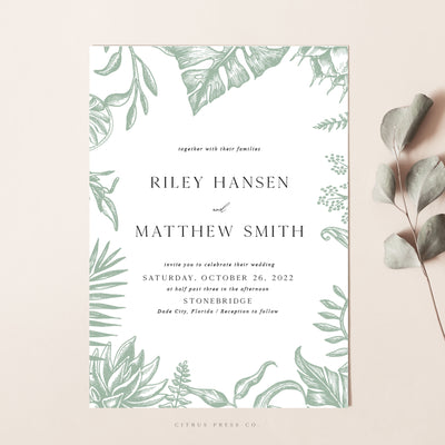 Greenery Forest Romantic Wedding Invitation leaves wildnerness nature