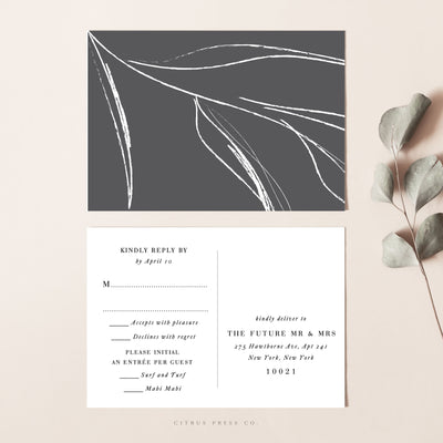 Simple Minimalist Wedding Invitation RSVP Postcard