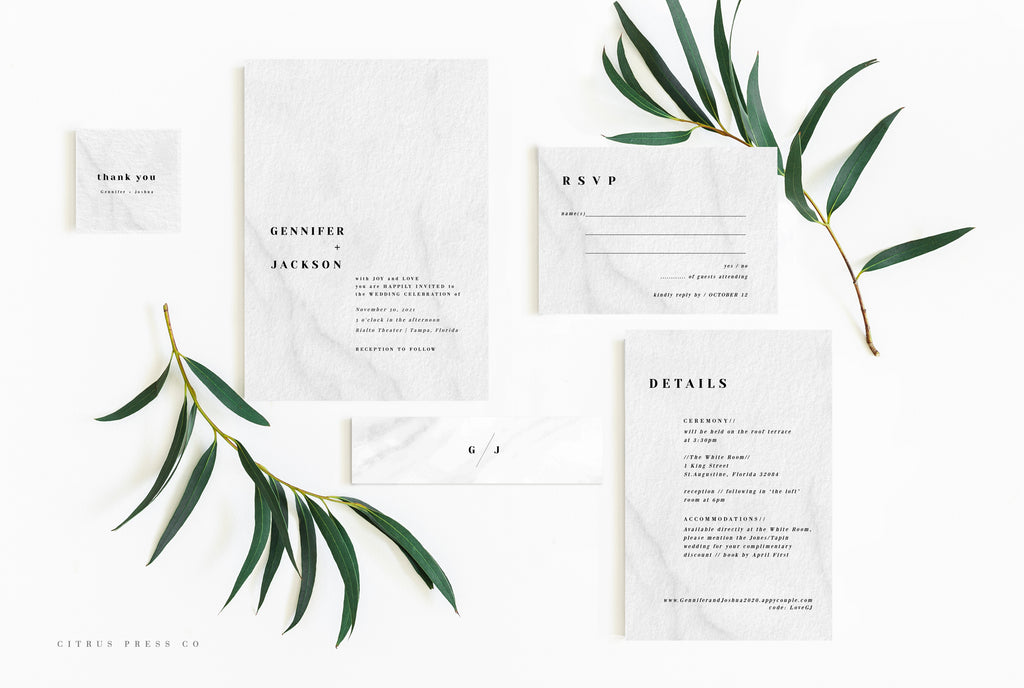 Minimalist Modern Simplistic wedding invitation suite DIY PDF Download