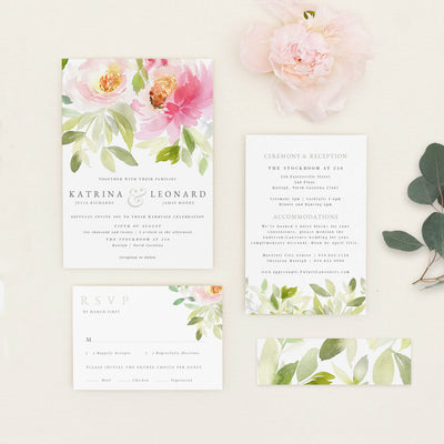 Blush Flower PDF Wedding Invitation Template