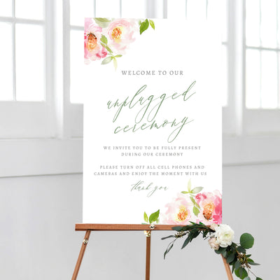 Unplugged Wedding Sign DIY PDF Editable Template Corjl