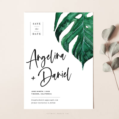Modern Tropical Destination Wedding Save The Date