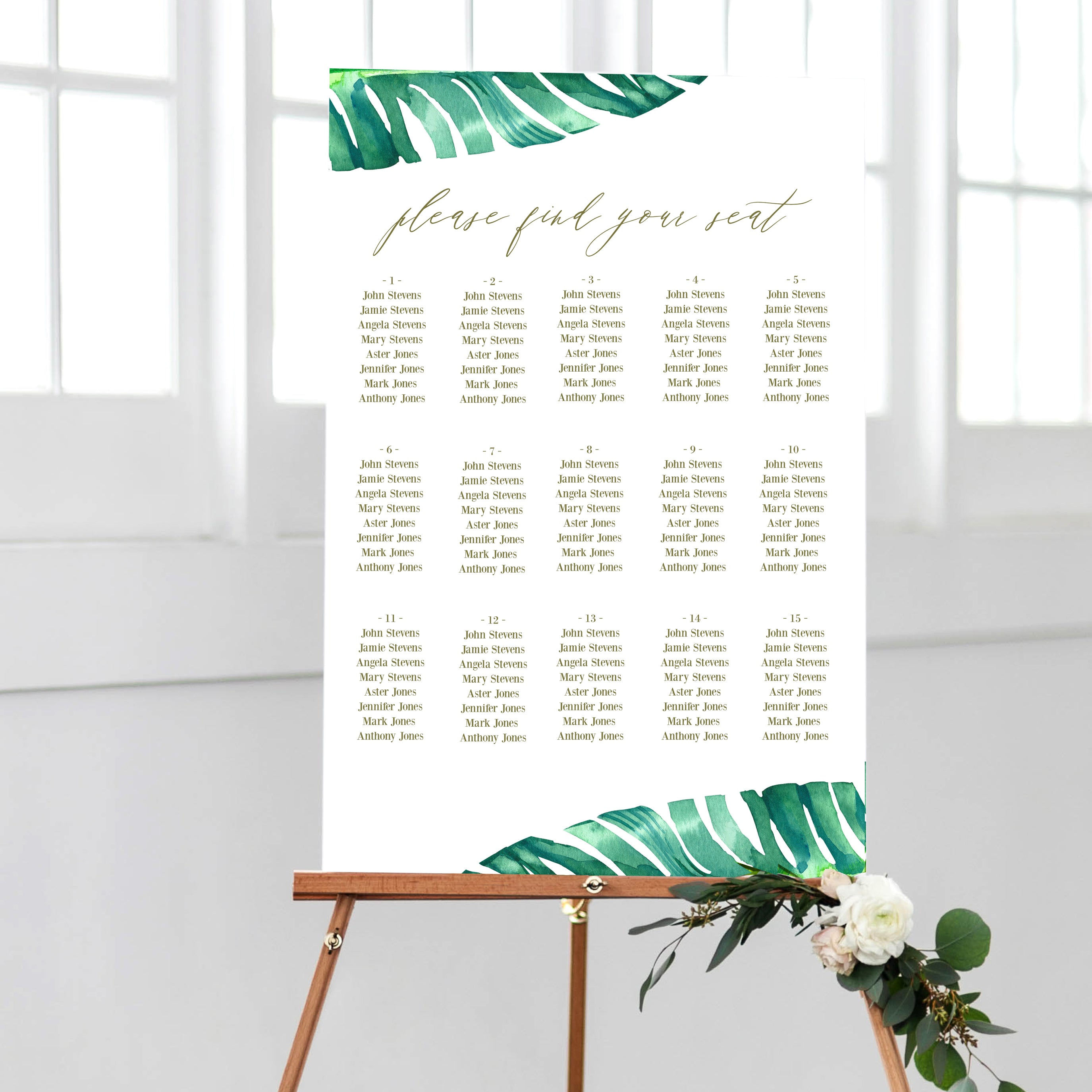 Jaraux Tropical Wedding Seating Chart Pdf Template