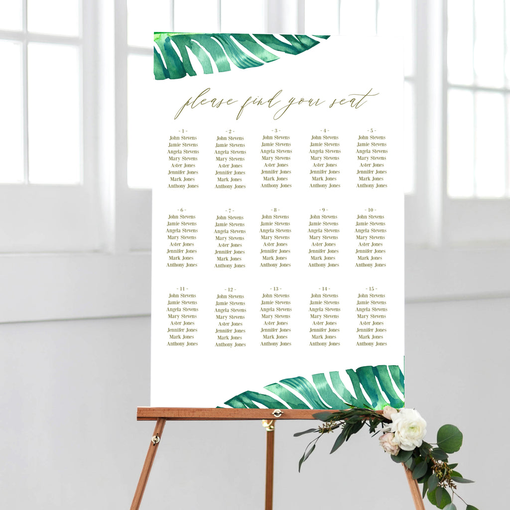Tropical Wedding Seating Chart DIY PDF Template