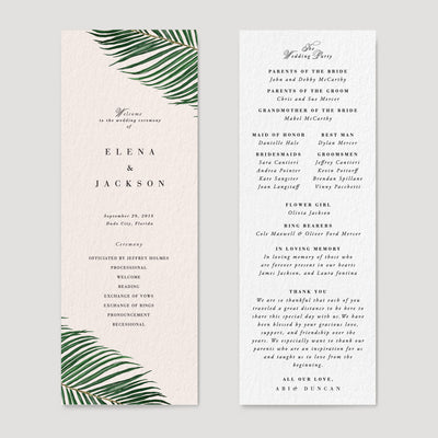 Mod Tropical wedding program
