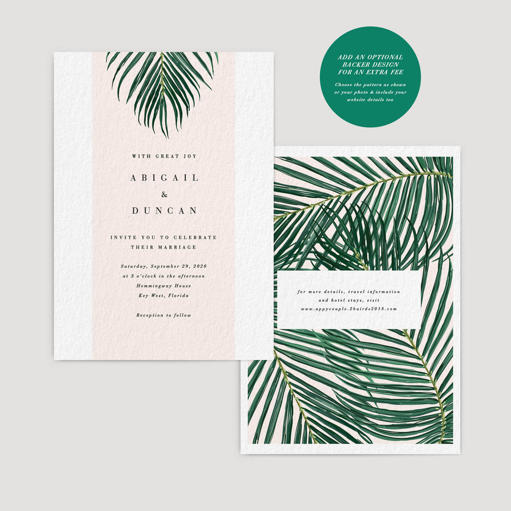 Mod Palm Leaf Minimalist wedding invitation