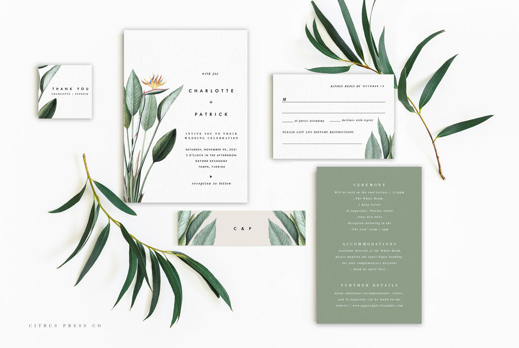 Minimalist Modern Simplistic Bird of Paradise Tropical wedding invitation suite DIY PDF Download