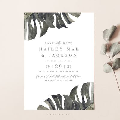 Tropical Destination Orchid Hawaii Wedding Invitation Save The Date