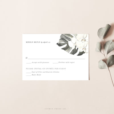 Orchid Tropical Wedding Invitation RSVP Card