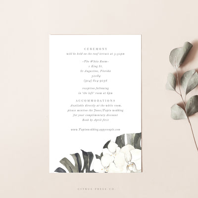 orchid enclosure wedding card