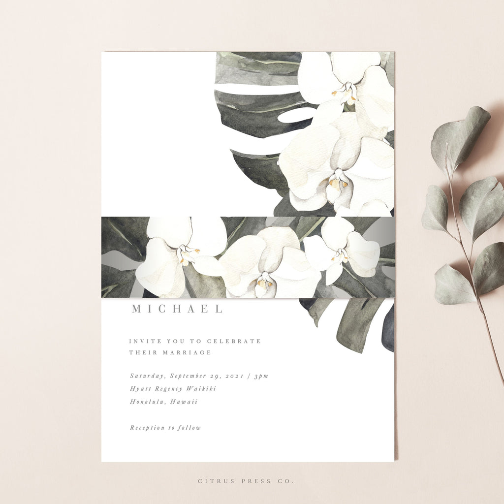 Orchid Tropical Destination Modern Wedding Invitation Palm Leaf