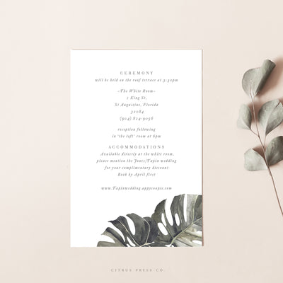 Tropical Wedding Enclosure Card