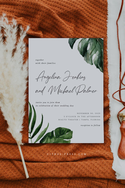 Tropical Greenery Destination Wedding Invitation Suite Editable Template Printable Instant Download DIY Bride