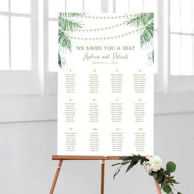 Tropical Destination Wedding Seating Chart with string lights  DIY PDF Template