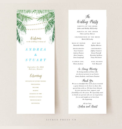 Tropical String Cafe Light Wedding Reception Program