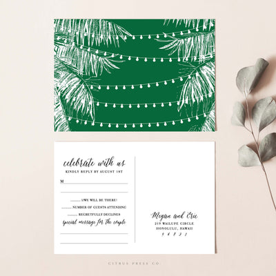 Tropical String Light RSVP Postcard Destination Wedding