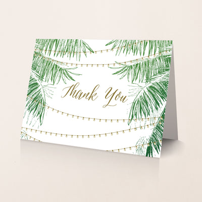 String light destination wedding  thank you card with palm trees for a beach wedding