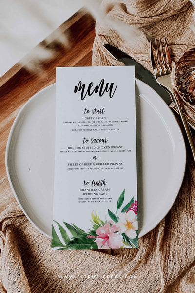Tropical Wedding Menu DIY Corjl Template Self Editable Digital Download