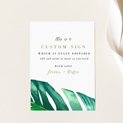 Tropical Wedding Sign Self Editable Template Palm Leaf
