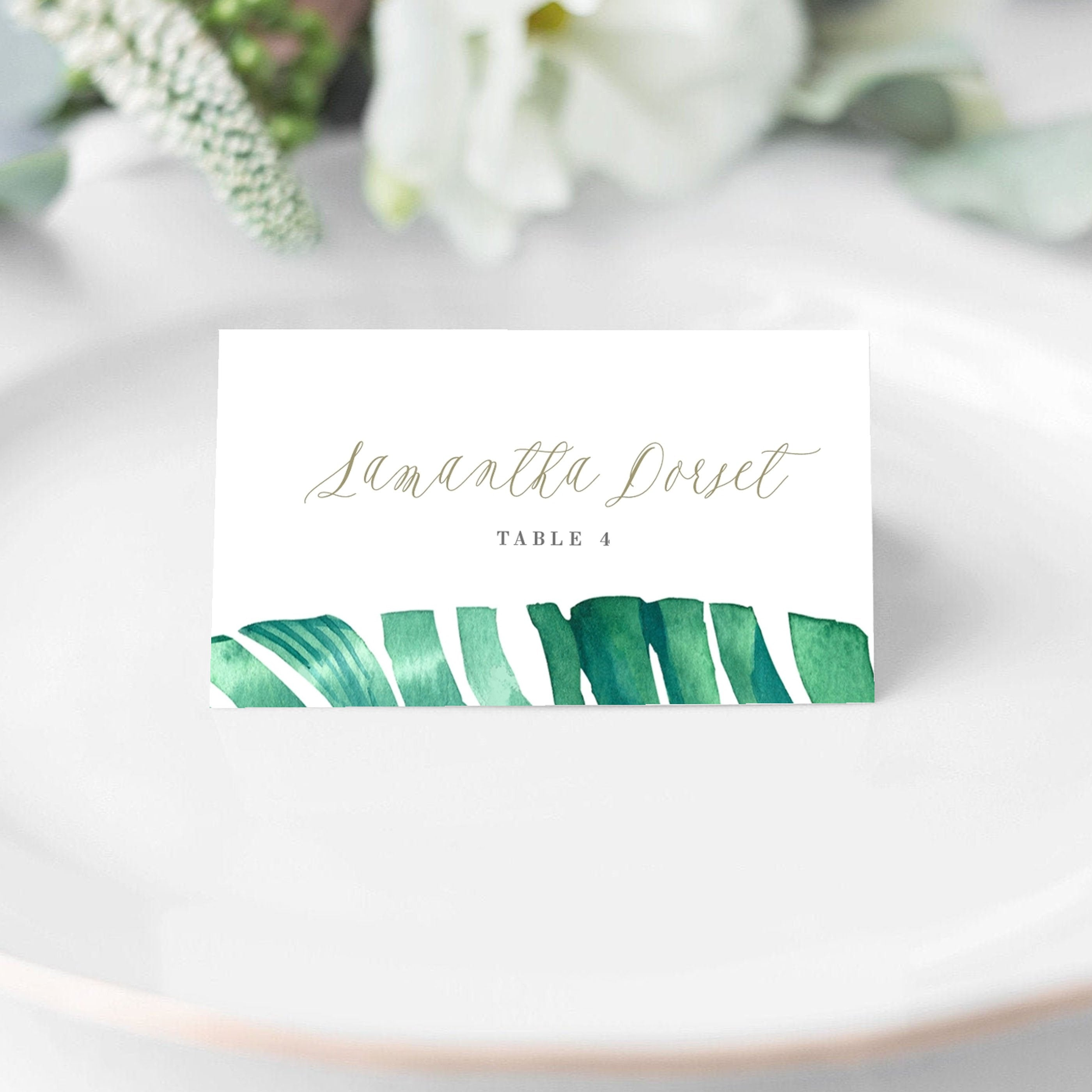 Tropical Place Card Wedding Reception Jaraux Pdf Diy Template
