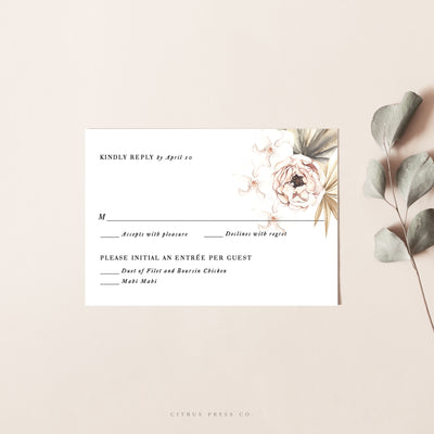 Tropical Pampass Grass Wedding Invitation RSVP