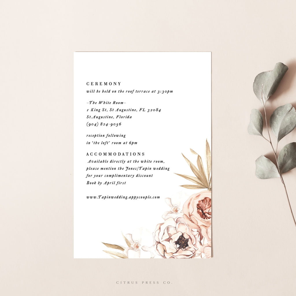 Orchid Pampass Grass Wedding Invitation Enclosure Card