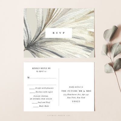 Sun bleached dry palm pampas grass wedding invitaiton paper card
