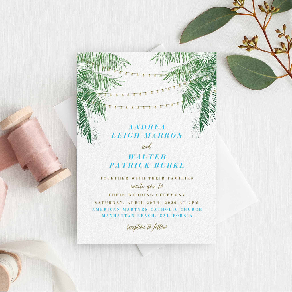 String light wedding invitation with palm trees