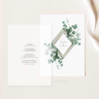 Vellum Wedding Invitation Overlay Stationery