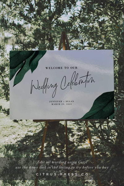 Tropical Wedding Welcome Ceremony Sign Corjl Editable Sign PDF DIY Template Digital Download